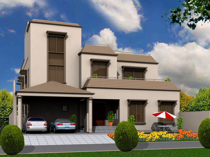 3d front 10 marla house front elevations - D home design front elevation ...