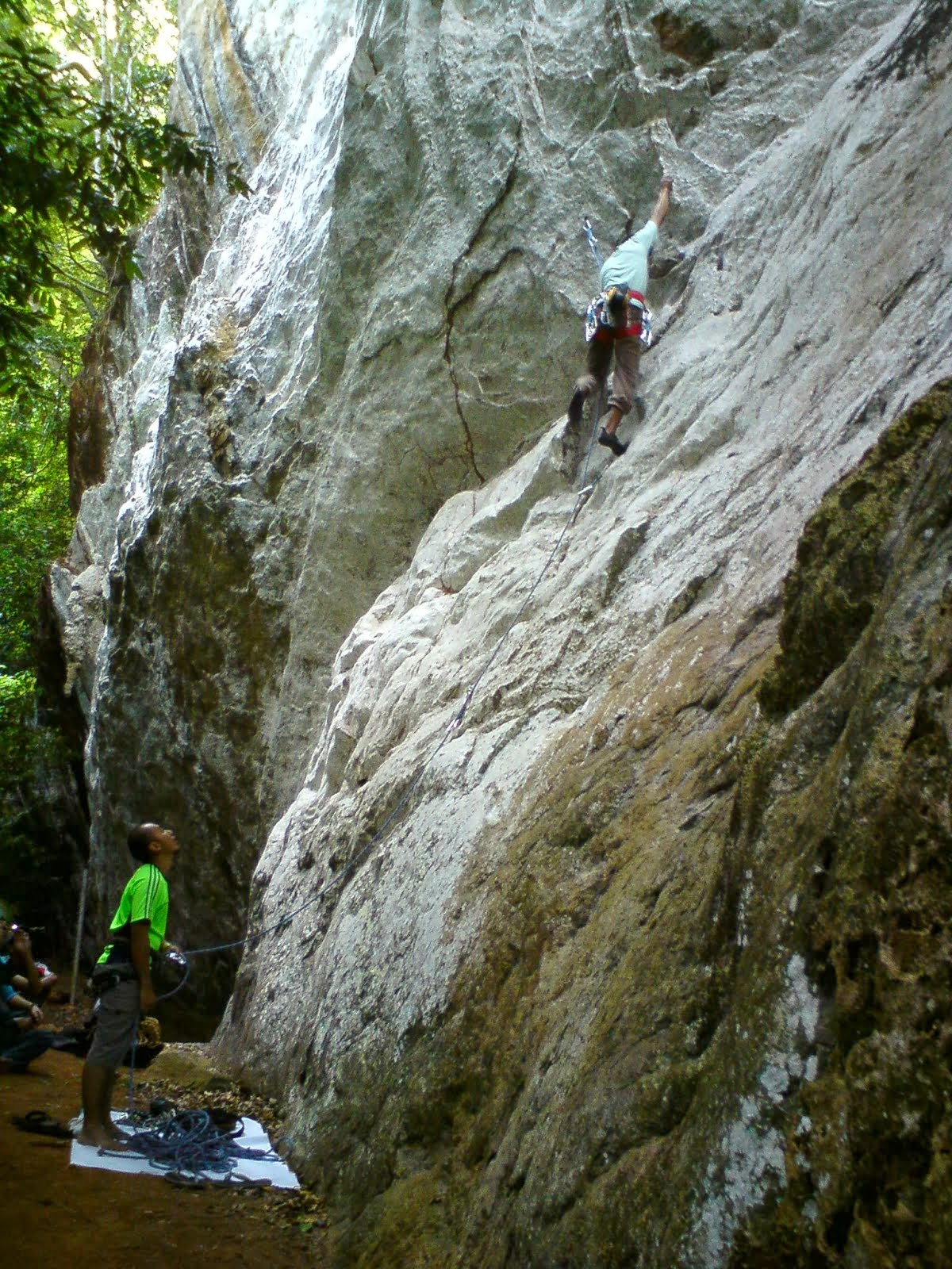 Climbing in Gua Kelam Rainforest Cave