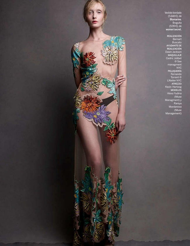 Blumarine 2015 SS Sheer Tulle Maxi Dahlia-Embroidery Gown Editorials