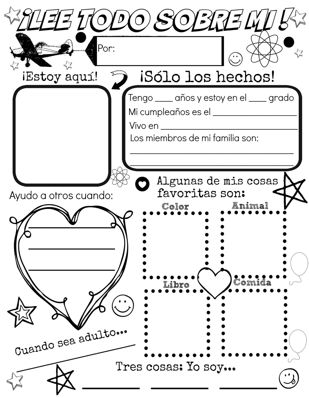 photo about Free Printable All About Me Poster known as All Over Me Totally free Spanish Printable Understanding the