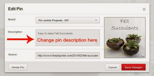 how to edit a pin on Pinterest
