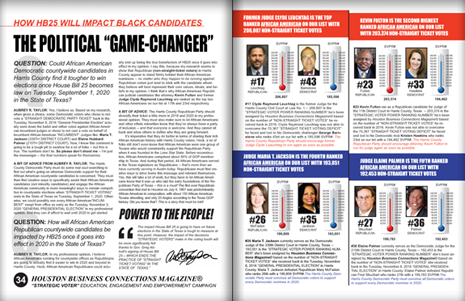 "PAGES 34 AND 35 - HOUSTON BUSINESS CONNECTIONS MAGAZINE© ""STRATEGIC VOTER"" MOBILIZATION PROJECT"