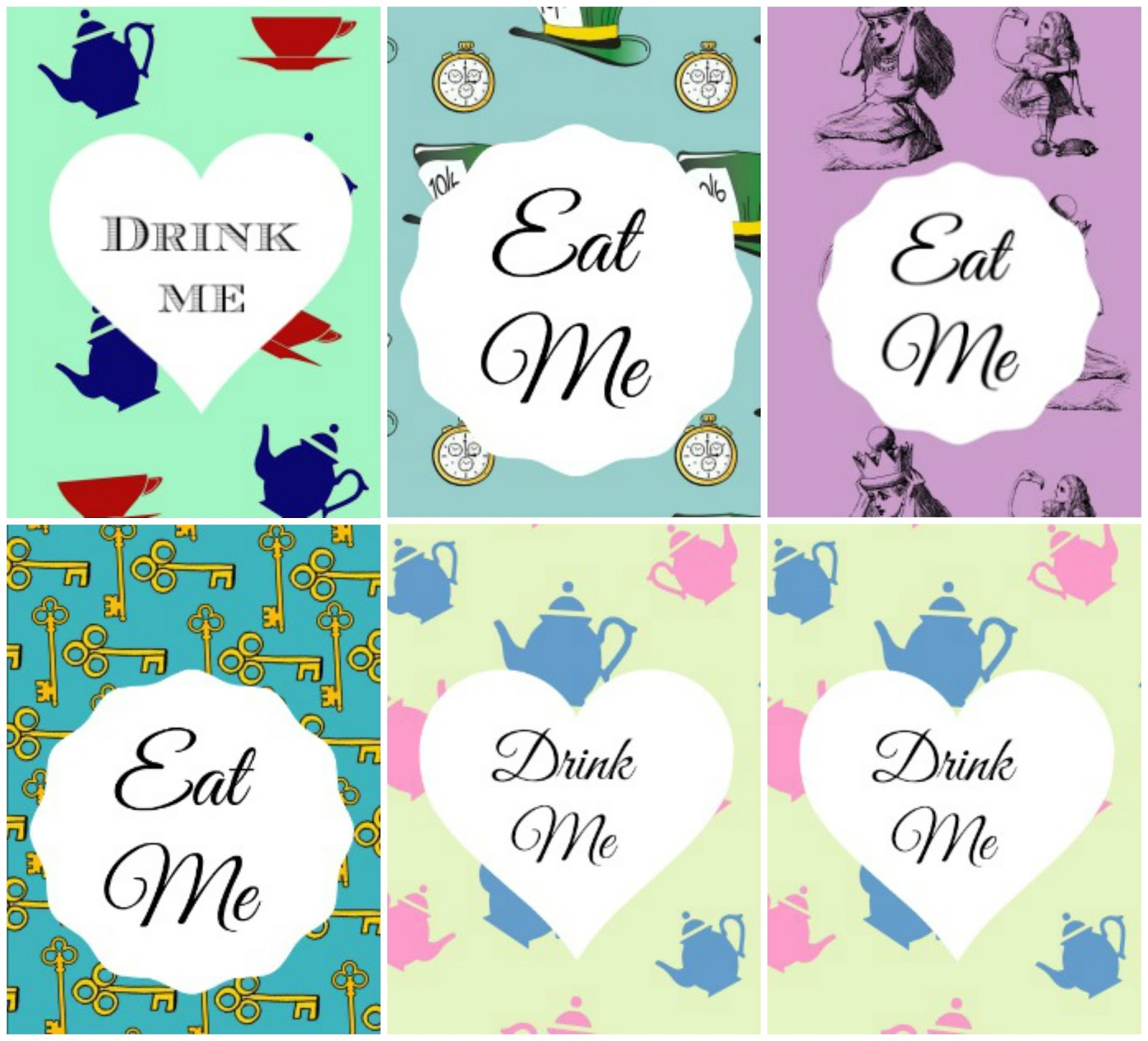Here Are The Rest Of Printables I Created For My 2014 Mad Hatter Tea Party