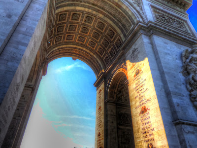 Arc de Triomphe inside cast in sunlight