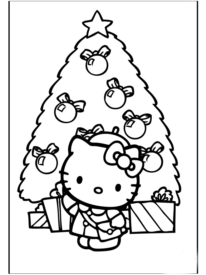Hello Kitty Merry Christmas Coloring Pages : Hello kitty christmas coloring pages learn to
