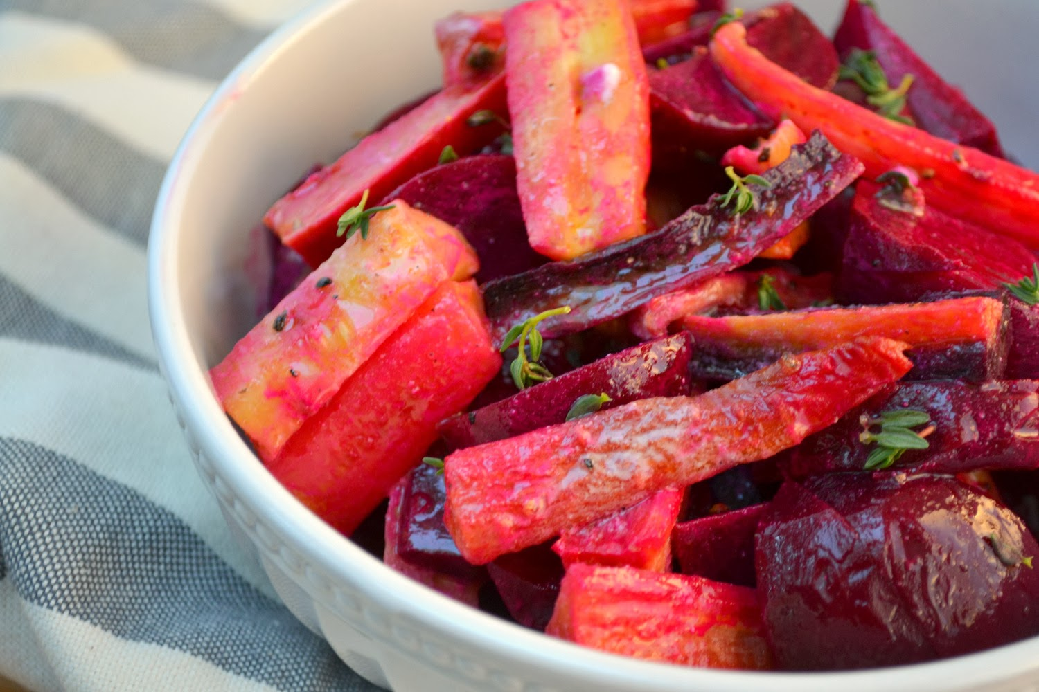 Roasted Beet and Heirloom Carrot Salad with Goat Cheese Vinaigrette
