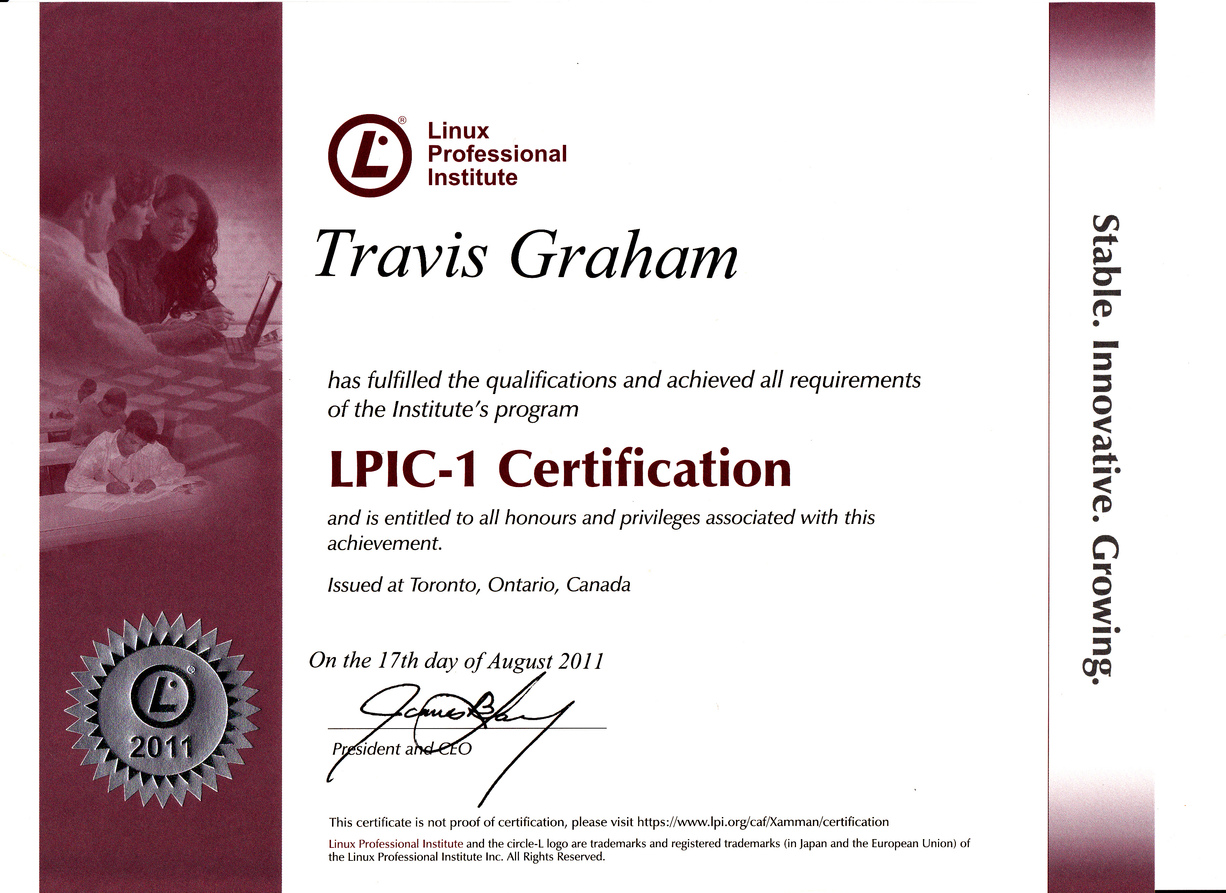 Lpi is international linux training organization based in canada this is example lpi certificate baditri Gallery