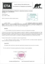 Reiteramos a la Inspección de Trabajo la solicitud de copia del requerimiento realizado a la Junta