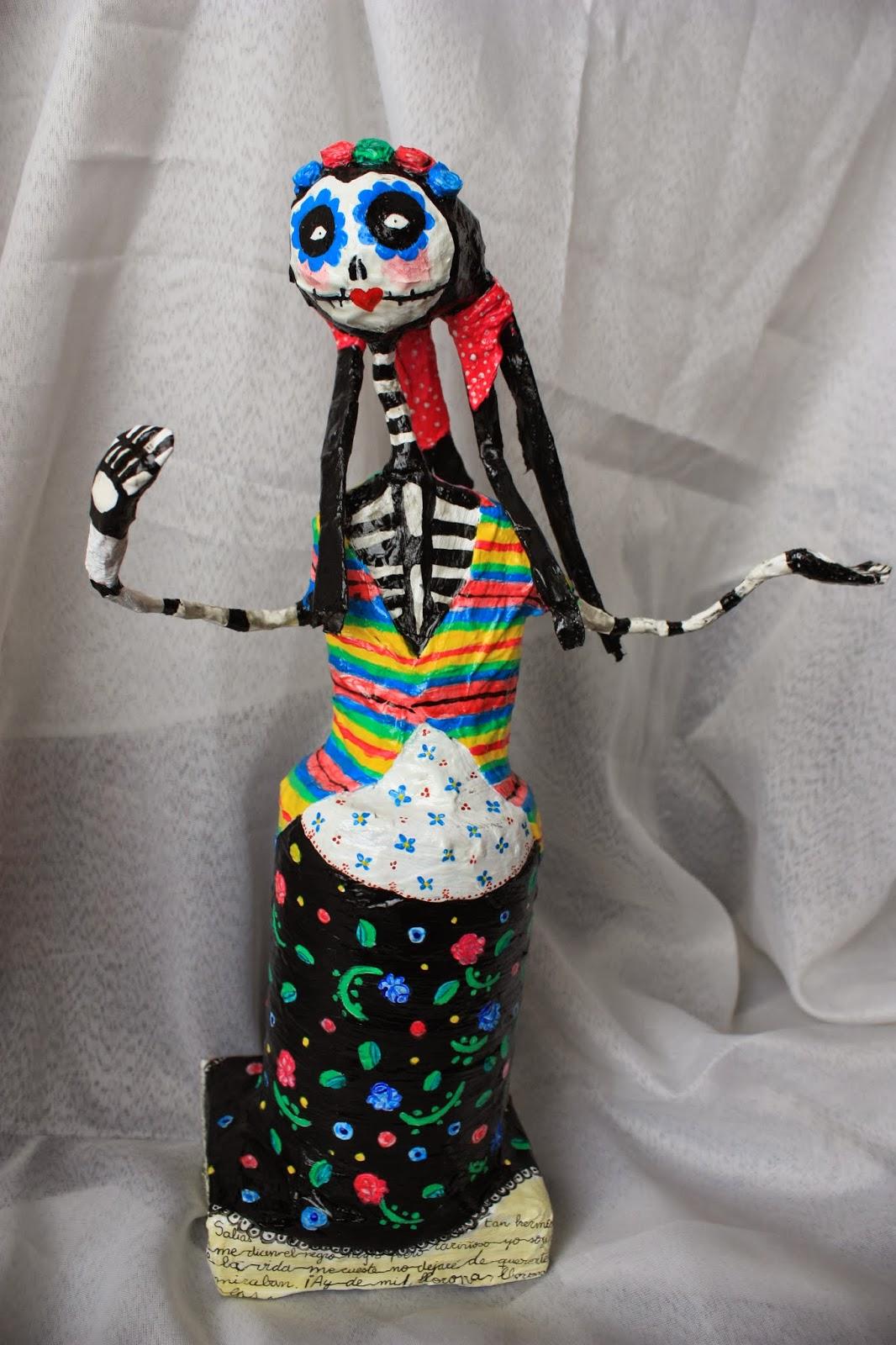 Como pintar catrines de papel catrina doll catrina de - Como pintar azulejos a mano ...