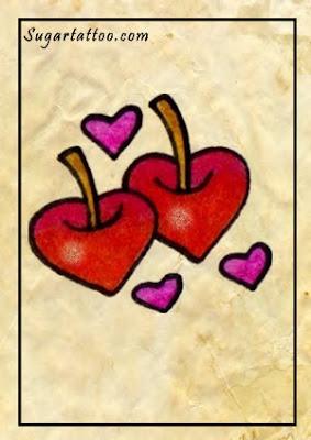 κεράσια τατουάζ, κεράσι τατουάζ, τατουάζ τα φρούτα, τα τατουάζ flirty, θηλυκό τατουάζ, τατουάζ καρδιά, καρδιές τατουάζ