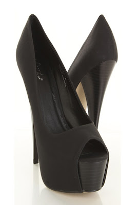Black Faux Leather Stitched Peep Toe Wooden Hidden Platform Heels