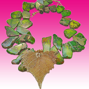 Amazing Green Jasper and Goldplated Leaf Spring Necklace