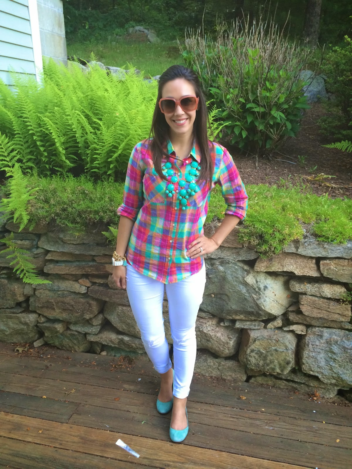 Summer Plaid and white skinny jeans