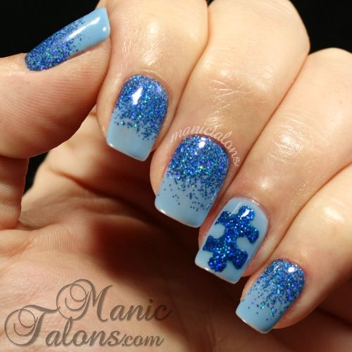 Manic talons nail design blue on blue for autism awareness blue on blue for autism awareness prinsesfo Images