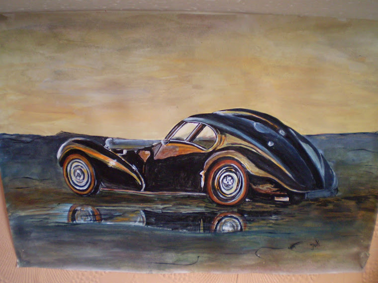 Bugatti 57SC Atlantic , watercolor, signed Joli, A4