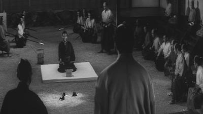 Harakiri's Wide-Angled Cinematography, Tatsuya Nakadai (as Hanshiro Tsugumo) in white Pebbled Garden, Maskai Kobayashi's Harakiri