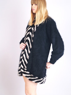 Vintage 1980's black angora sweater with black and white striped mink trim