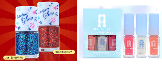 Tony Moly glitter lacquer GS11 and GS12 and Aqua aura nails set