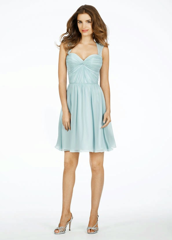 "The rocks Azure chiffon over White-colored cellular lining drink time-span ""dresses"" which has a love neckline, keyhole again, and also ruched disregard top bodice. Bridesmaid Dresses."