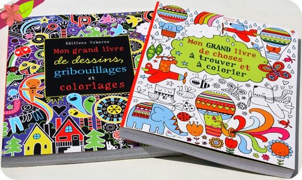 """""""Mon grand livre de choses à trouver et à colorier"""" et """"Mon grand livre de dessins, gribouillages et coloriages"""" - éditions Usborne"""