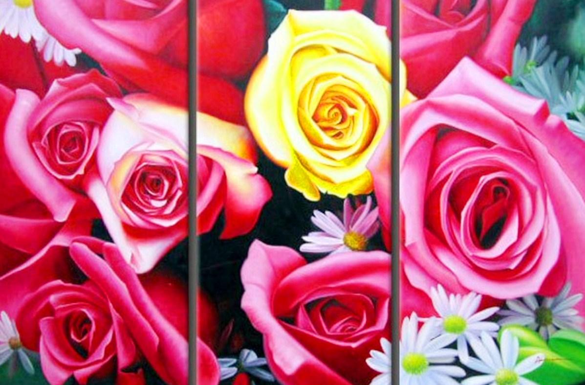 Cuadros modernos pinturas y dibujos cuadros tr pticos de - Cuadros flores modernas ...