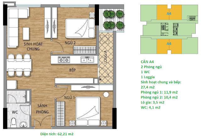 Căn hộ A4 diện tích 62,21 m2 tầng 3 Valencia Garden