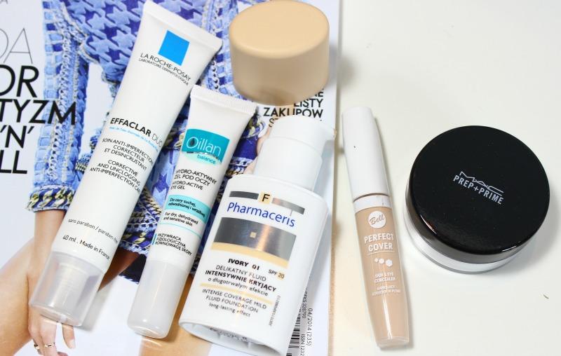Najczęściej używane kosmetyki, La Roche Posay Effaclar DUO, Oillan Hydro-aktywny żel pod oczy, Pharmaceris Delikatny fluid intensywnie kryjący,Bell korektor Perfect Cover, MAC Puder utrwalający makijaż Prep+Prime
