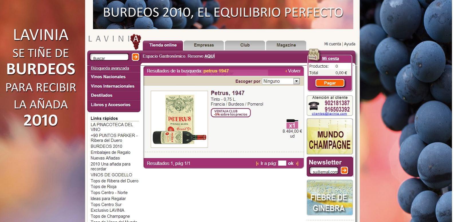 Web de lavinia.com - Petrus 1947
