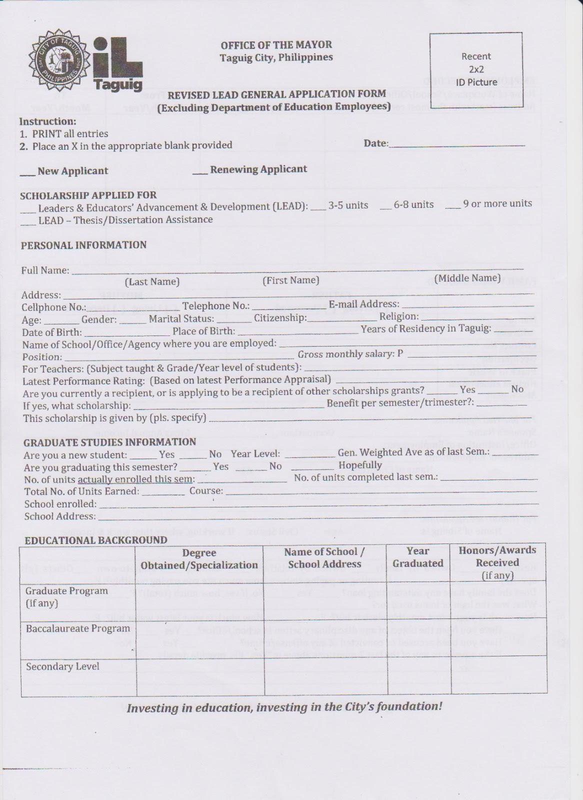 Doc585610 Scholarship Application Form 15 Scholarship – Scholarship Application Form