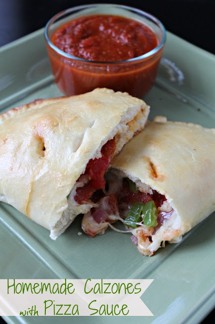 homemade calzones with pizza sauce
