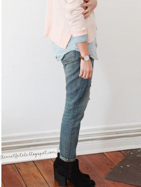 Blog Kiel Stuttgart: Mode: Outfit mit Pastellpulli, Jeanshemd und Boyfriendjeans.