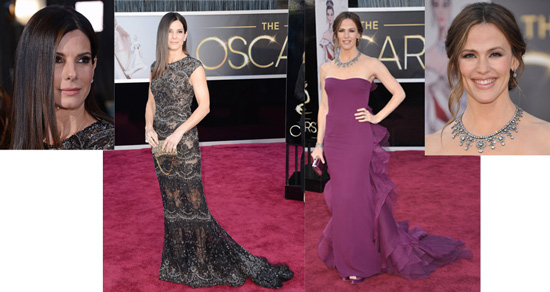 Sandra Bullock in Elie Saab and Jennifer Garner in Gucci Première