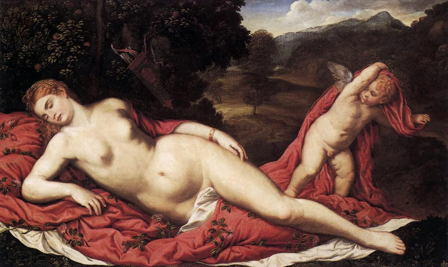 Venus dormida con Cupido (Paris Bordone, ca. 1540)