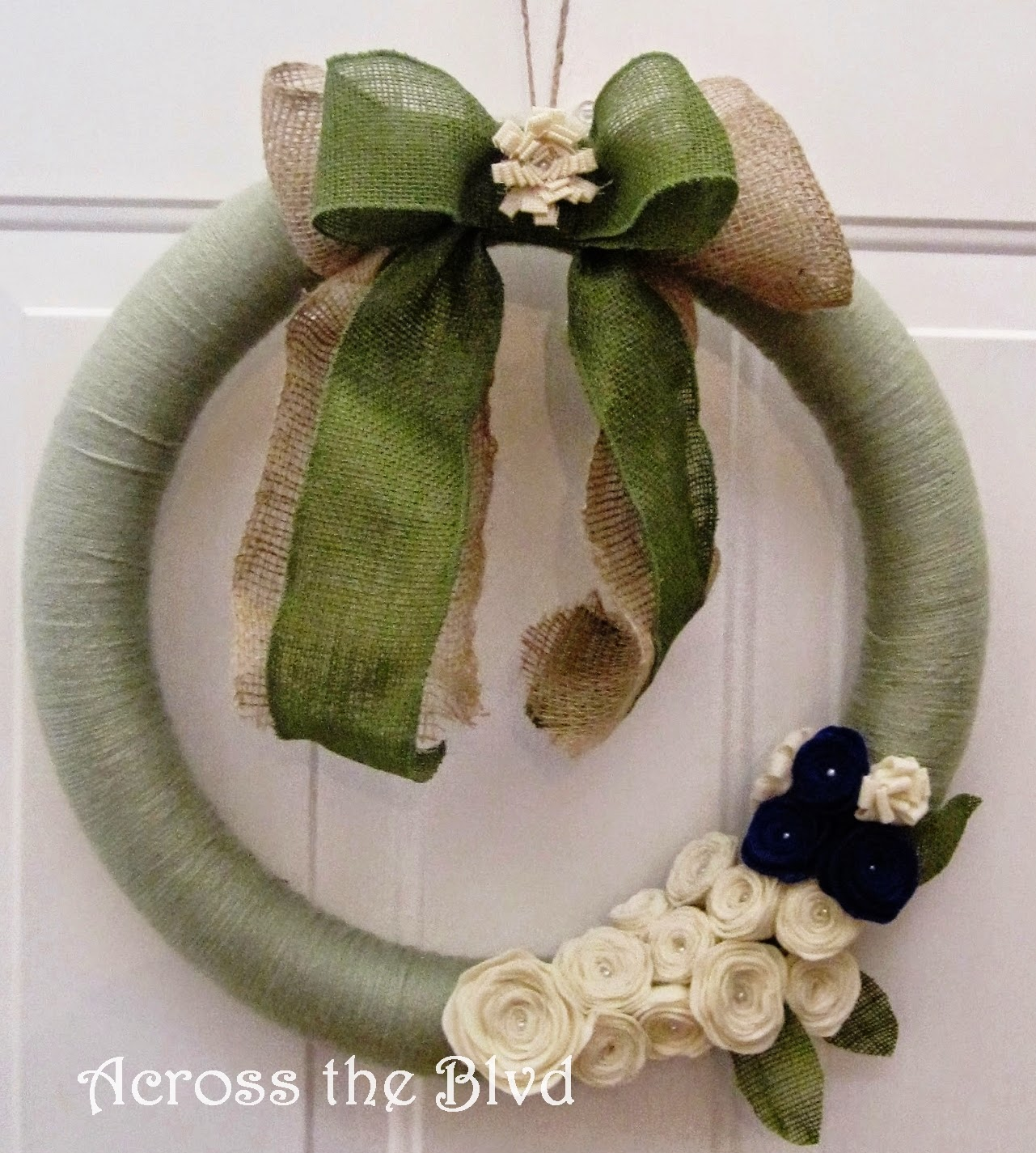 Felt Rosettes on Yarn Wreath