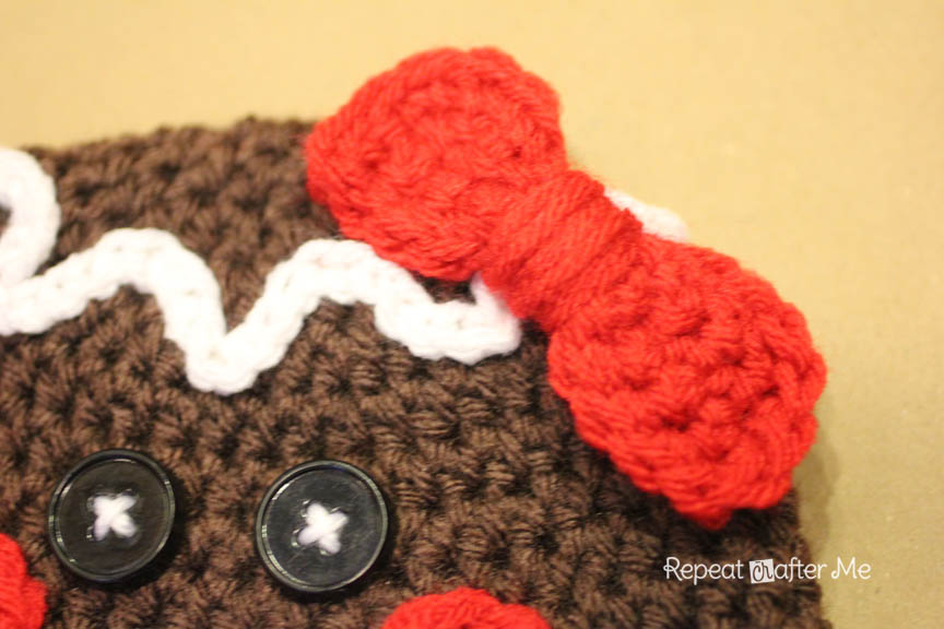 Free Crochet Pattern For Gingerbread Man Hat : Gingerbread Man Crochet Hat Pattern - Repeat Crafter Me