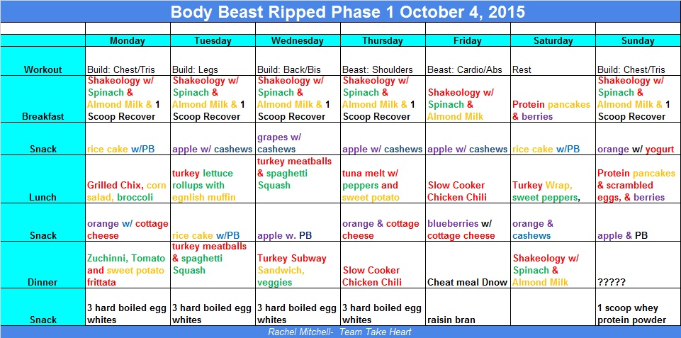 Body Beast Meal Plan Goes Nothing Rachel J Mitchell