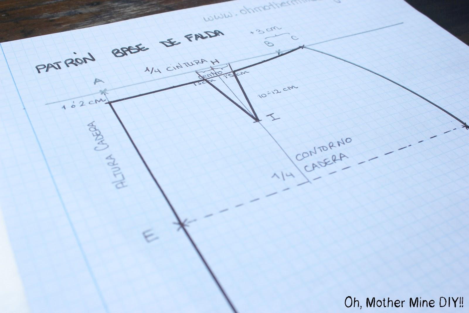 Resultado de imagen para Patrón base falda recta de una pieza