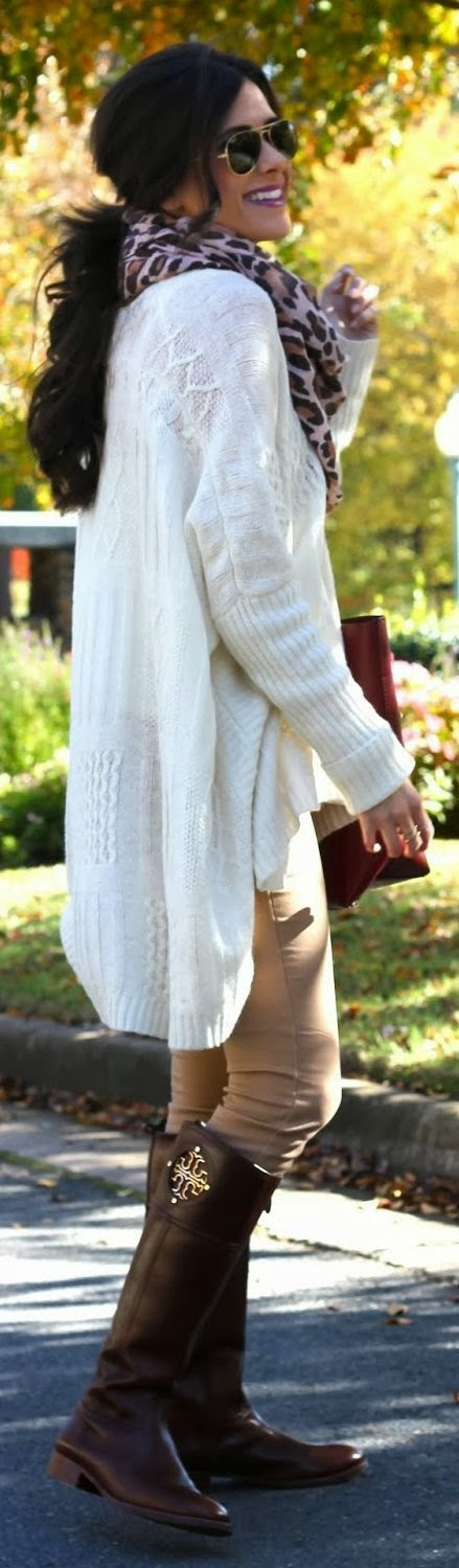 Fall look with simple white oversized cardigan, scarf, skinny and long boots