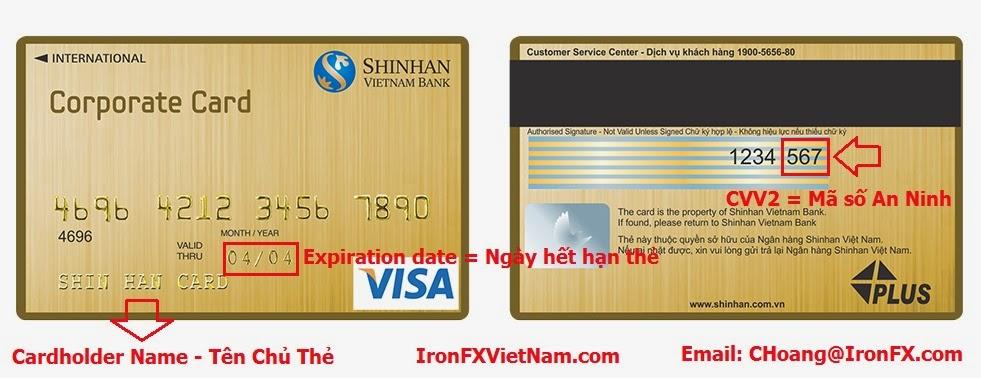 Thông tin trên thẻ VISA - IronFX