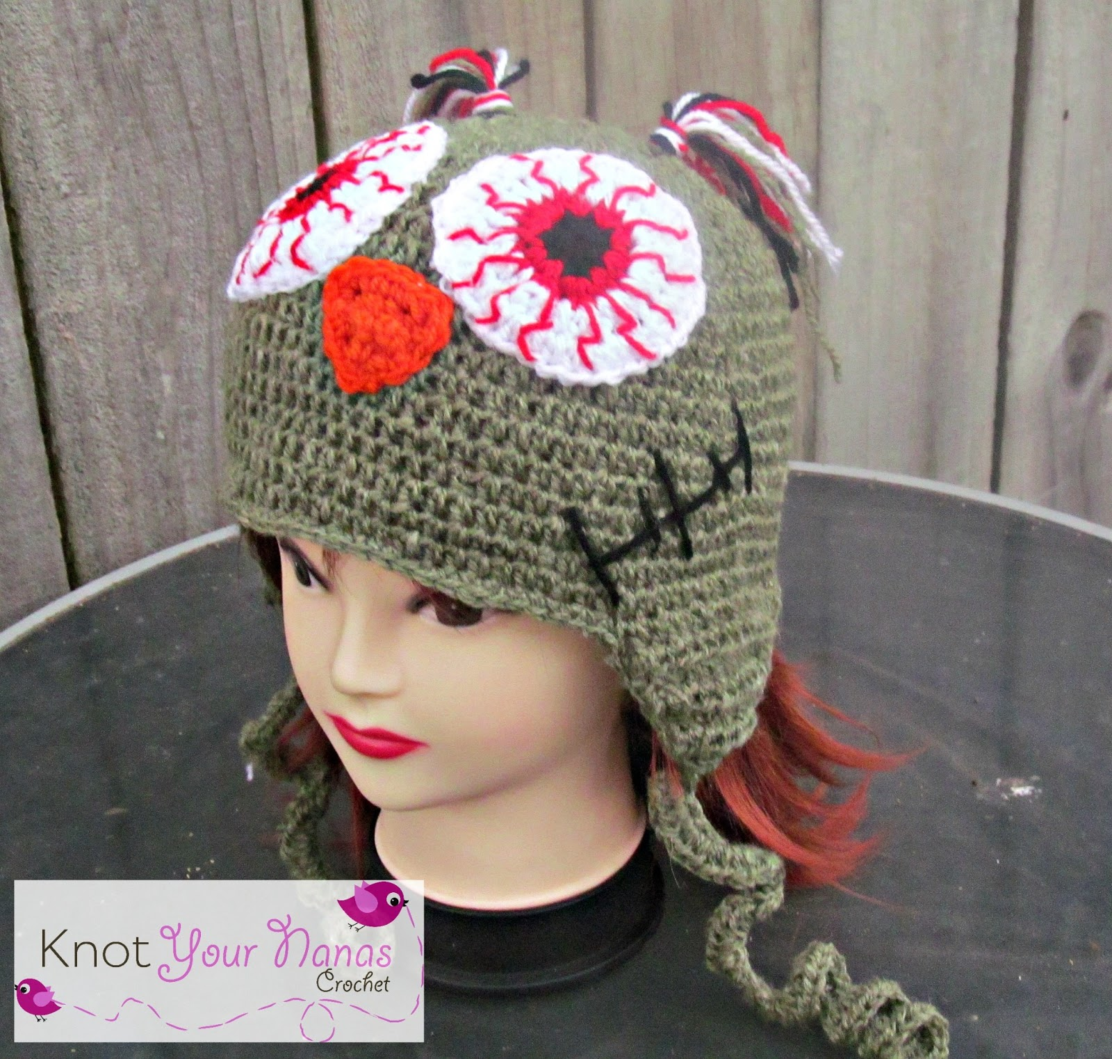 Free Crochet Patterns Zombie : Knot Your Nanas Crochet: Zombie Owl Hat Free Crochet Pattern
