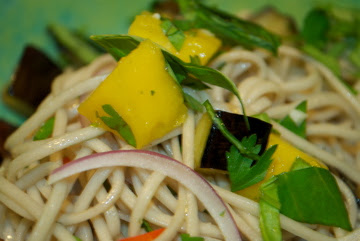 Cole's Kitch: ottolenghi soba noodles with eggplant and mango