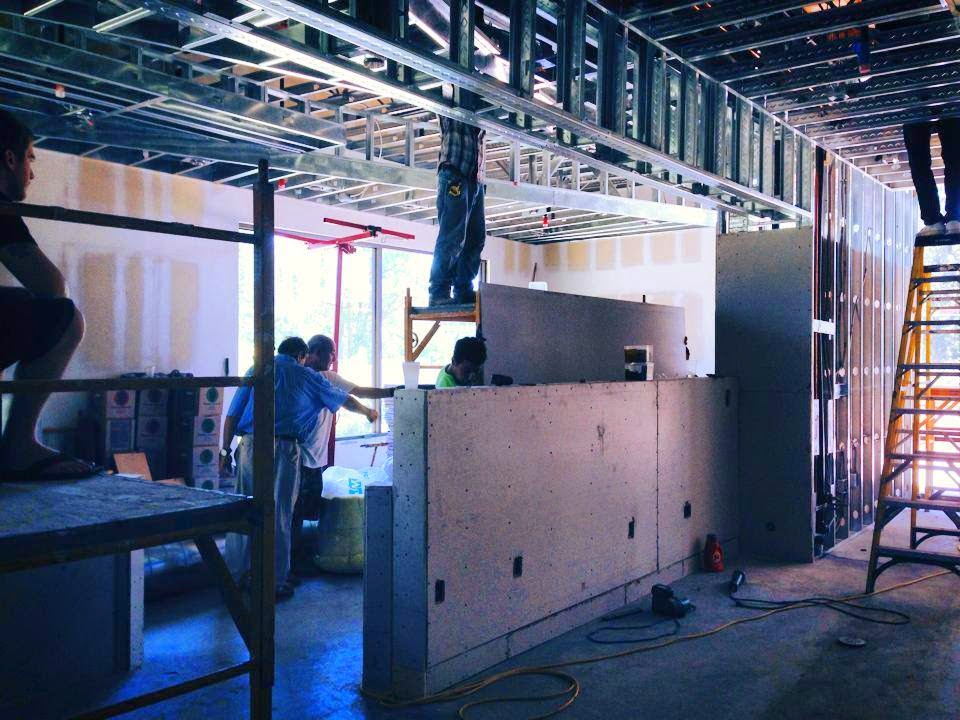 The walls are being put up and the air conditioning is currently being installed at Aroha in Westlake Village.