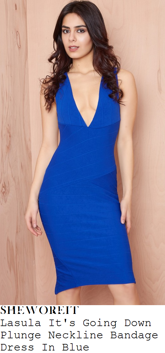 vicky-pattison-bright-blue-plunge-v-neck-sleeveless-bodycon-bandage-midi-dress