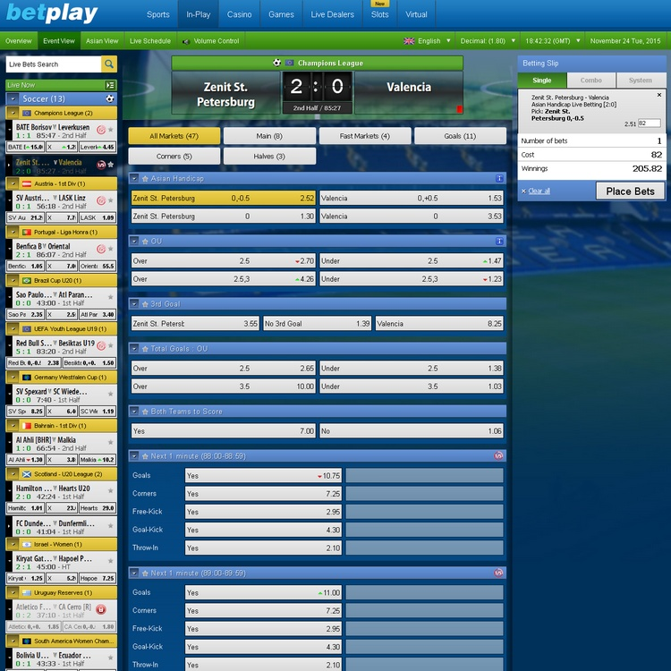 Betplay In-play Betting Offers