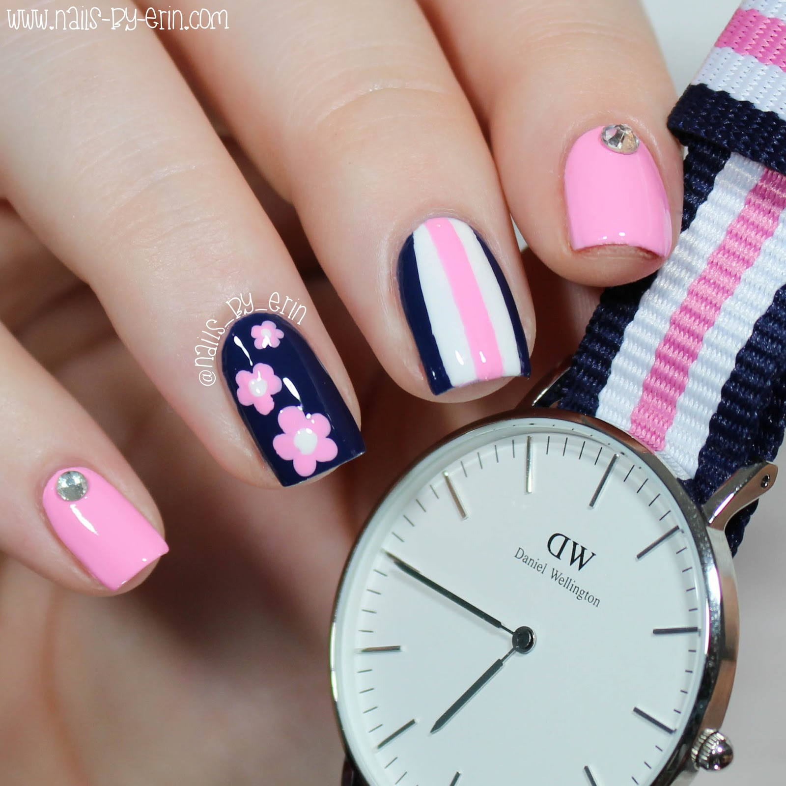 NailsByErin: Navy and Pink Mix & Match Nails | Daniel Wellington ...