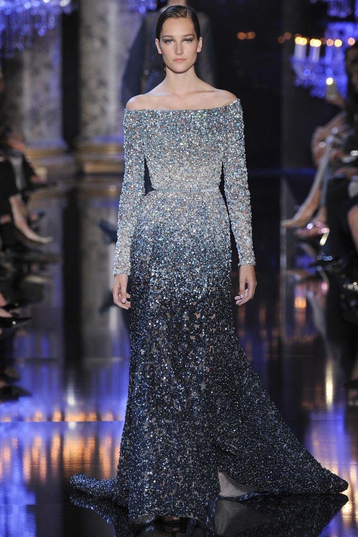 Elie Saab navy ombre gown