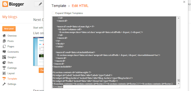 Blogger Edit HTML