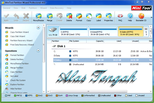 Main Features of MiniTool Partisi Wizard Professional Edition:  Resize/Move Partition: Easily resize/move partition without data loss. Create, Format, Delete Partition. Convert Partition format from FAT to NTFS. Hide and Unhide Partitions, set active partition, label drive letter. Merge Partition. NEW! Hot Extend Partition without reboot. NEW! Change cluster size without data loss. NEW! Support Linux Ext2, Ext3. NEW! Partition Copy: Copy entire partition to unallocated space with high performance file-by-file. moving technology. Backup or move data without any data loss. Partition Recovery: Scan disk to restore deleted or damaged partitions. Hard Disk Copy: Copy an entire disk to a different diskquickly and easily with data clone technology. Backup disk data without data loss. Support Windows 32/64 bit Operating Systems. Visually demonstrate your disk/partition configuration to preview changes before apply. Support RAID. Support single disks or partitions larger than 2 TB Support up to 32 hard disks within one system. Set partition as primary. Set partition as logical. Rebuild MBR. Convert Dynamic Disk to Basic Disk. Disk Surface Test. Partition Surface Test. Change Partition Serial Number. Change Partition Type ID