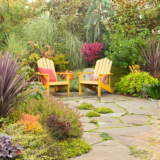 Hazardous design grass and stone Relaxed backyard deck ideas