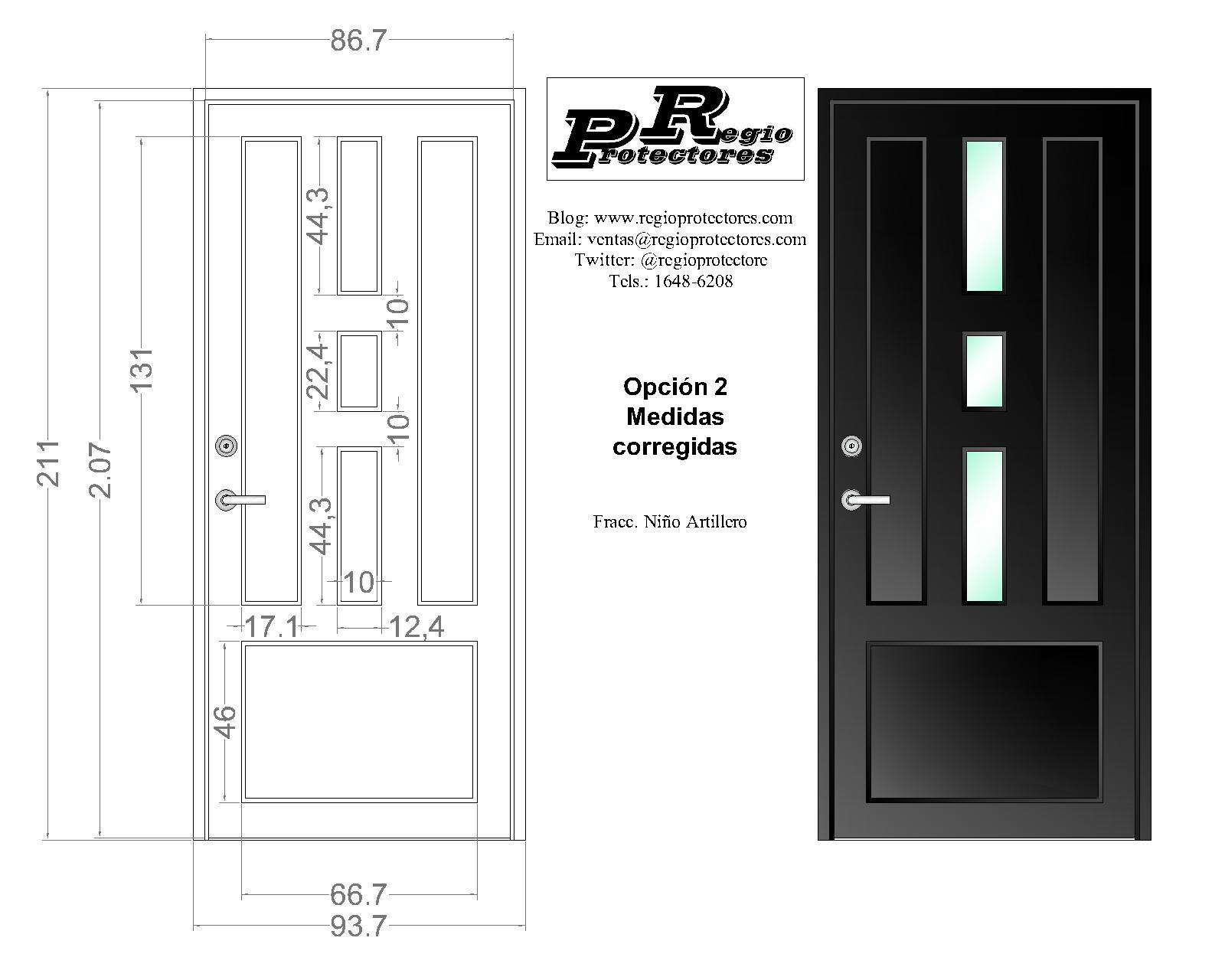 Puerta Contemporánea, Plano de fabricación, Modelo Regina, Col.Niño